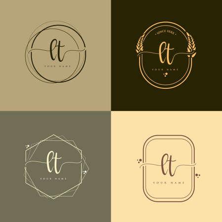 LT Initial handwriting logo vector sets. Hand lettering Initials logo branding, Feminine and luxury logo design. Logó