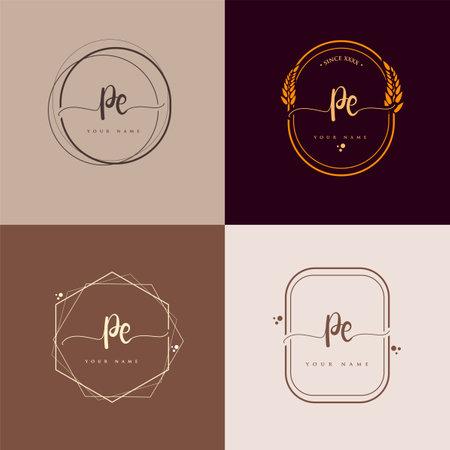 PE Initial handwriting logo vector sets. Hand lettering Initials logo branding, Feminine and luxury logo design. Logo