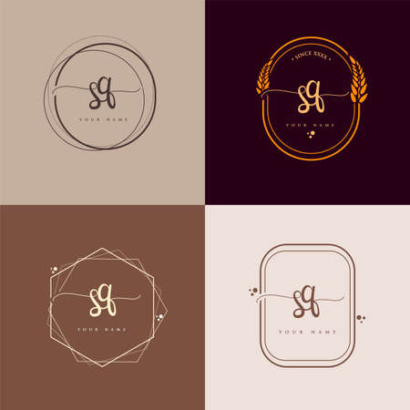 SQ Initial handwriting logo vector sets. Hand lettering Initials logo branding, Feminine and luxury logo design.