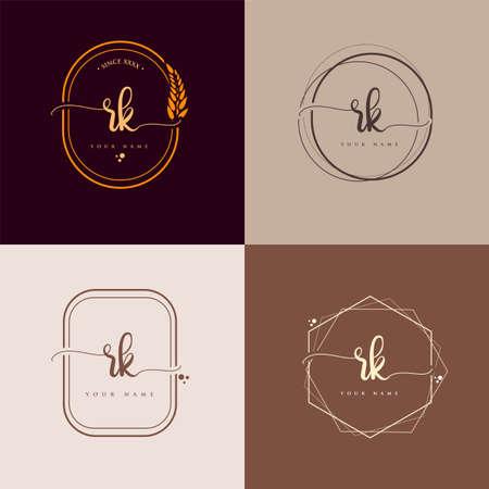 RK Initial handwriting logo vector sets. Hand lettering Initials logo branding, Feminine and luxury logo design.