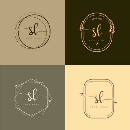 SL Initial handwriting logo vector sets. Hand lettering Initials logo branding, Feminine and luxury logo design.