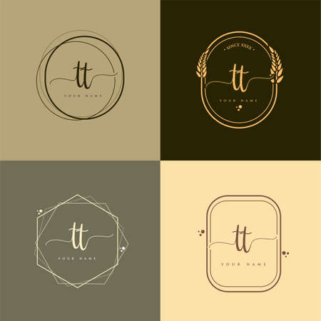 TT Initial handwriting logo vector sets. Hand lettering Initials logo branding, Feminine and luxury logo design. Logo