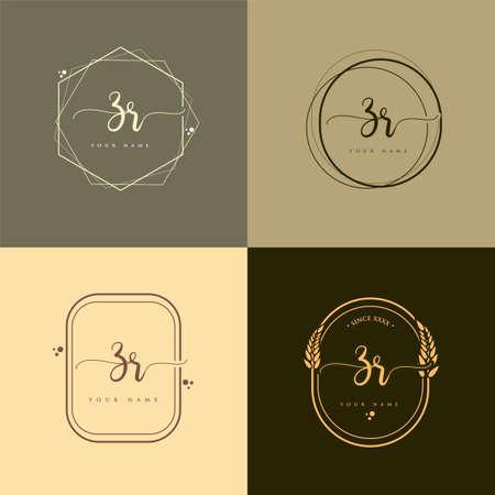 ZR Initial handwriting logo vector sets. Hand lettering Initials logo branding, Feminine and luxury logo design. Logó