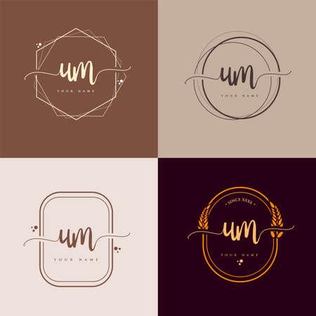UM Initial handwriting logo vector sets. Hand lettering Initials logo branding, Feminine and luxury logo design. Logo