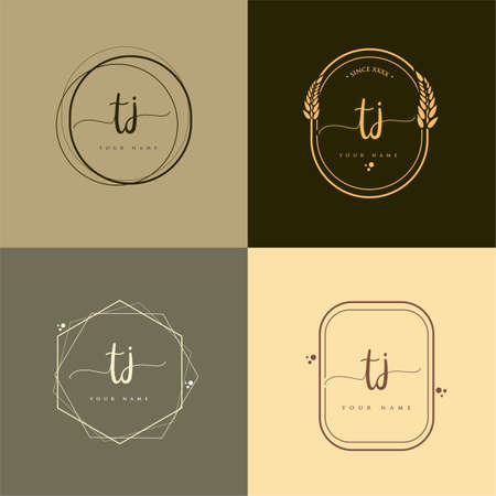 TJ Initial handwriting logo vector sets. Hand lettering Initials logo branding, Feminine and luxury logo design.