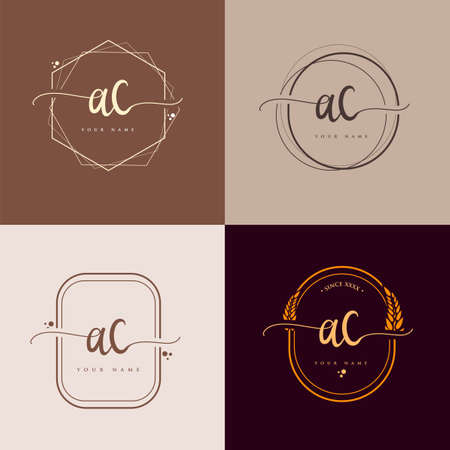 AC Initial handwriting logo vector sets. Hand lettering Initials logo branding, Feminine and luxury logo design. Logo