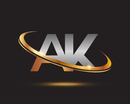 initial letter AK logotype company name colored gold and silver swoosh design. isolated on black background.