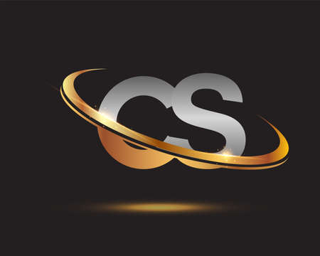 initial letter CS logotype company name colored gold and silver swoosh design. isolated on black background. Logó