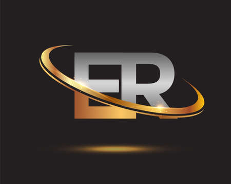 initial letter ER logotype company name colored gold and silver swoosh design. isolated on black background.