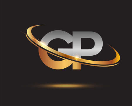 initial letter GP logotype company name colored gold and silver swoosh design. isolated on black background.