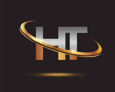 initial letter HT logotype company name colored gold and silver swoosh design. isolated on black background. Logó