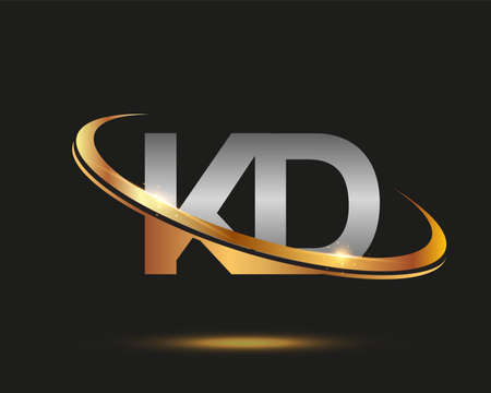 initial letter KD logotype company name colored gold and silver swoosh design. isolated on black background. Logó