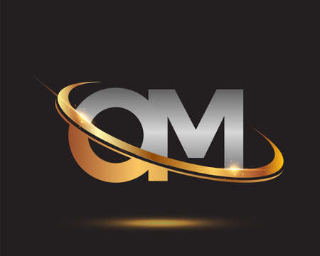 initial letter OM logotype company name colored gold and silver swoosh design. isolated on black background.