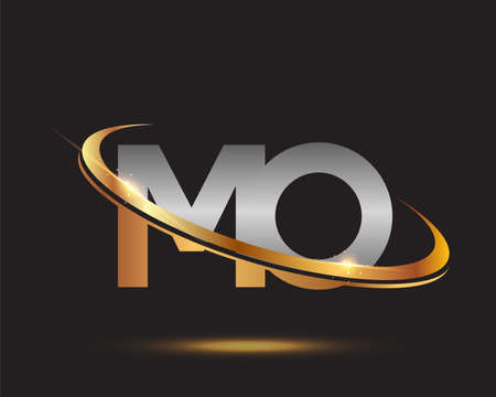 initial letter MO logotype company name colored gold and silver swoosh design. isolated on black background.