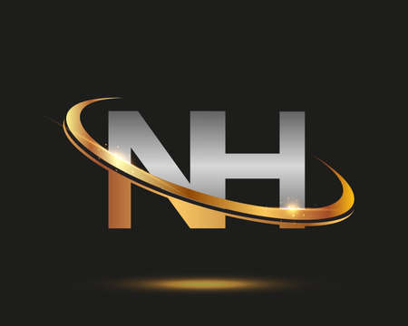 initial letter NH logotype company name colored gold and silver swoosh design. isolated on black background.