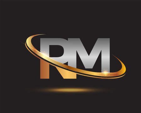 initial letter RM logotype company name colored gold and silver swoosh design. isolated on black background.