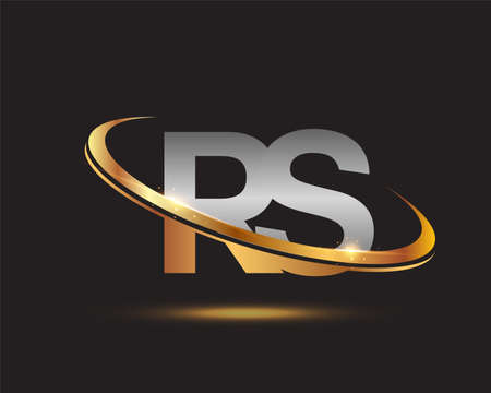 initial letter RS logotype company name colored gold and silver swoosh design. isolated on black background. Logo