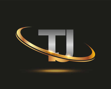 initial letter TJ logotype company name colored gold and silver swoosh design. isolated on black background.