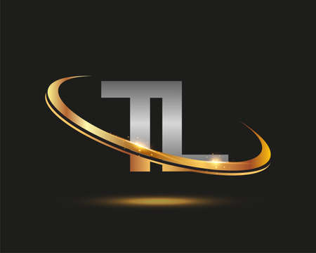 initial letter TL logotype company name colored gold and silver swoosh design. isolated on black background.