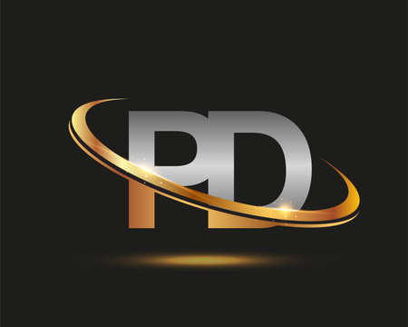 initial letter PD logotype company name colored gold and silver swoosh design. isolated on black background.