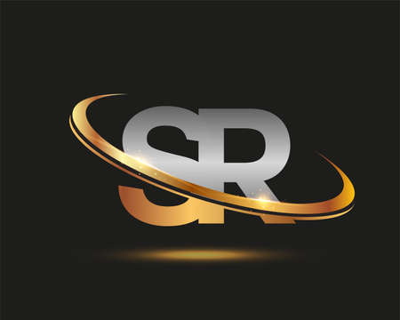 initial letter SR logotype company name colored gold and silver swoosh design. isolated on black background.