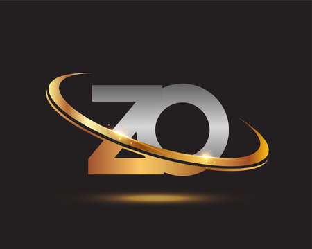 initial letter ZO logotype company name colored gold and silver swoosh design. isolated on black background. Logo