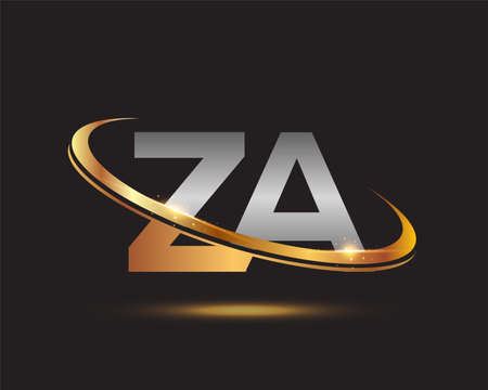 initial letter ZA logotype company name colored gold and silver swoosh design. isolated on black background.