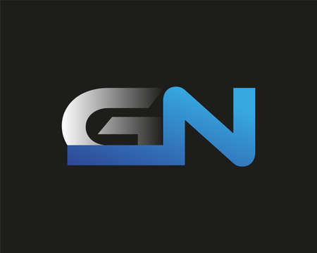 initial letter GN logotype company name colored blue and silver swoosh design. isolated on black background.