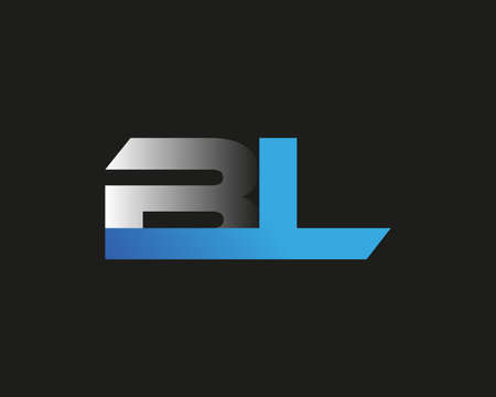 initial letter BL logotype company name colored blue and silver swoosh design. isolated on black background.