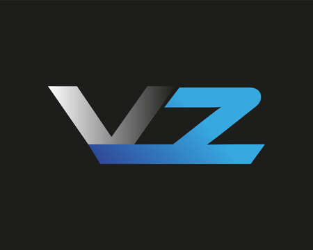 initial letter VZ logotype company name colored blue and silver swoosh design. isolated on black background.