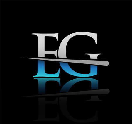 initial logotype letter EG company name colored blue and silver swoosh design. vector logo for business and company