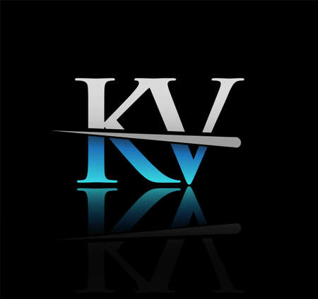 initial logotype letter KV company name colored blue and silver swoosh design. vector logo for business and company