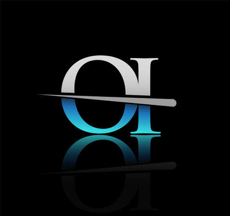 initial logotype letter OI company name colored blue and silver swoosh design. vector logo for business and company Logo