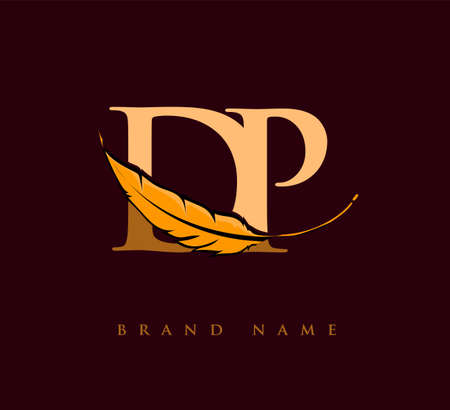 Initial letter DP logo with Feather Company Name, Simple and Clean Design. Vector Logo for Business and Company