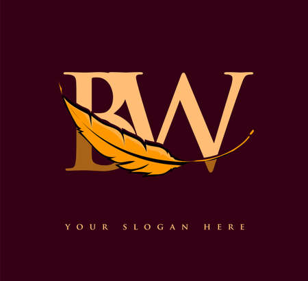 Initial letter BW logo with Feather Company Name, Simple and Clean Design. Vector Logo for Business and Company