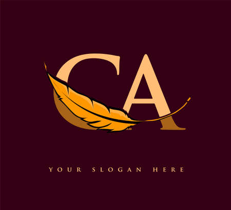 Initial letter CA logo with Feather Company Name, Simple and Clean Design. Vector Logo for Business and Company