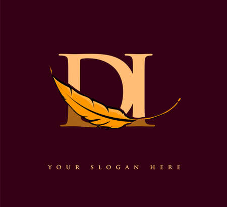 Initial letter DI logo with Feather Company Name, Simple and Clean Design. Vector Logo for Business and Company