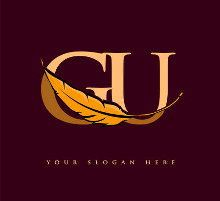 Initial letter GU logo with Feather Company Name, Simple and Clean Design. Vector Logo for Business and Company