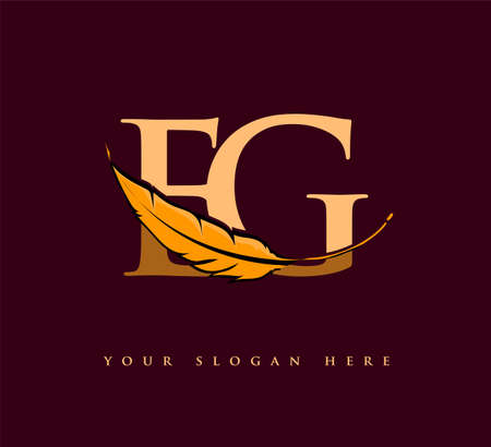 Initial letter EG logo with Feather Company Name, Simple and Clean Design. Vector Logo for Business and Company