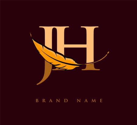 Initial letter JH logo with Feather Company Name, Simple and Clean Design. Vector Logo for Business and Company