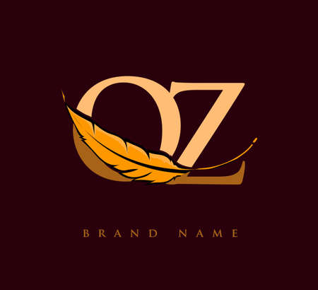 Initial letter QZ logo with Feather Company Name, Simple and Clean Design. Vector Logo for Business and Company