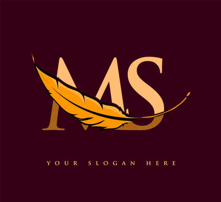 Initial letter MS logo with Feather Company Name, Simple and Clean Design. Vector Logo for Business and Company