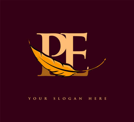 Initial letter PE logo with Feather Company Name, Simple and Clean Design. Vector Logo for Business and Company Logo