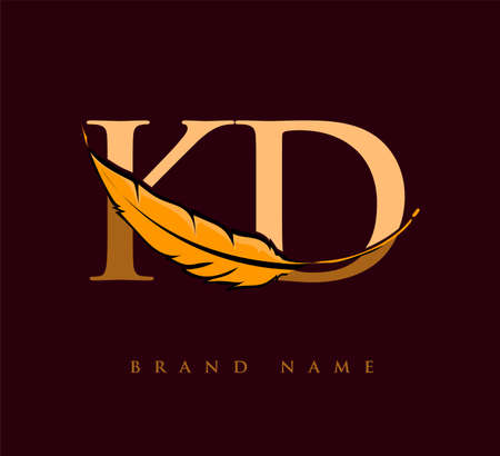 Initial letter KD logo with Feather Company Name, Simple and Clean Design. Vector Logo for Business and Company