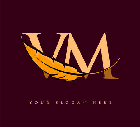 Initial letter VM logo with Feather Company Name, Simple and Clean Design. Vector Logo for Business and Company