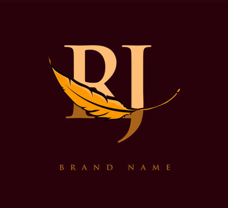 Initial letter RJ logo with Feather Company Name, Simple and Clean Design. Vector Logo for Business and Company Logo