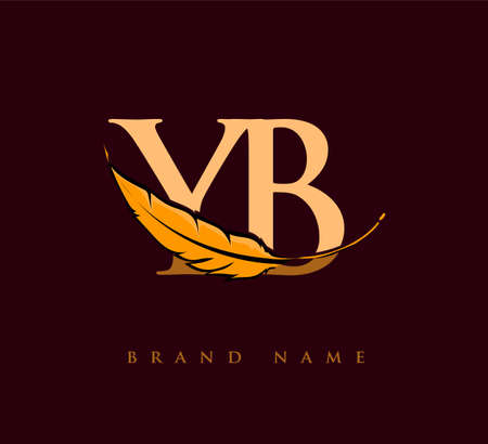 Initial letter YB logo with Feather Company Name, Simple and Clean Design. Vector Logo for Business and Company