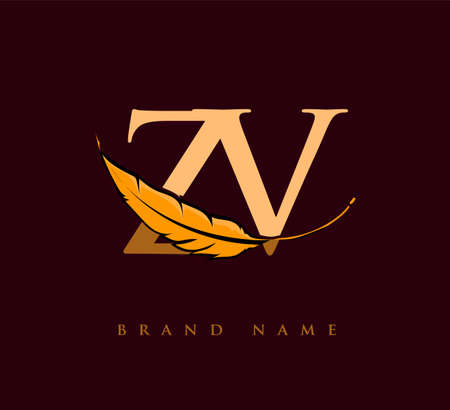 Initial letter ZV logo with Feather Company Name, Simple and Clean Design. Vector Logo for Business and Company