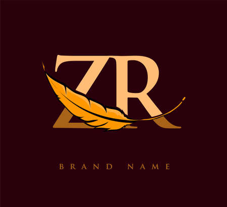 Initial letter ZR logo with Feather Company Name, Simple and Clean Design. Vector Logo for Business and Company