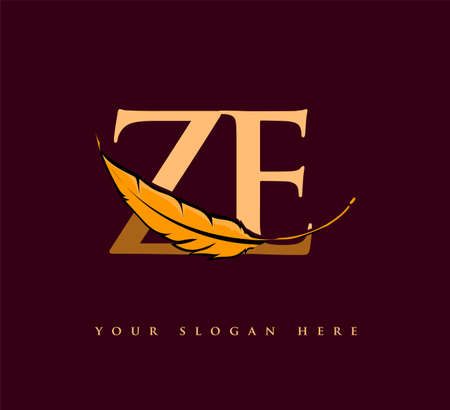 Initial letter ZE logo with Feather Company Name, Simple and Clean Design. Vector Logo for Business and Company Logo